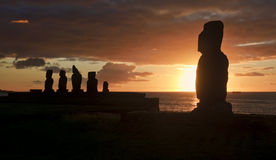 Easter Island - old statues moai on the waterfront Royalty Free Stock Photos