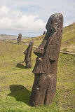 Easter Island - old statues moai on the waterfront Stock Photography