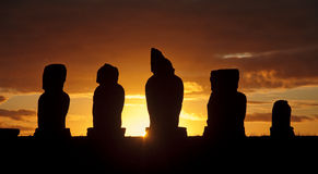 Easter Island - old statues moai on the waterfront Royalty Free Stock Photography