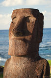 Easter Island - old statues moai on the waterfront Stock Images