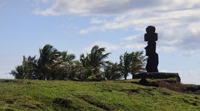 Easter Island - old statues moai on the waterfront Stock Photo
