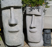 Easter Island Planters 2. Two Easter Island garden planters Stock Photography