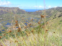 Easter Island - Rano Kau volcano. Volcano Rano Kau is one of the most colourful places on whole Easter Island royalty free stock photo