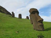 Easter Island Rapa Nui Moai at Rano Raraku. Easter Island, Rapa Nui four Moai at Rano Raraku royalty free stock photography