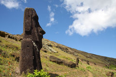 Easter Island statue. Stone statues moai standing on the hill on Easter Island Royalty Free Stock Photo