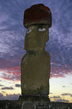 Easter Island Statue at Twilight. Moai (stone statue) at Ahu Tapai near Hanga Roa on Easter Island taken at twilight royalty free stock photography