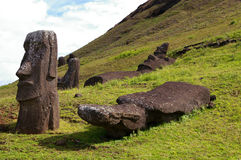 Easter Island Statues. Moai (stone statues) at Rano Raraku on Easter Island stock images