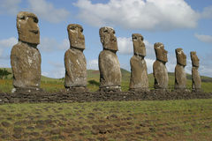 Easter Island Statues. Row of Easter Island Moai (statue stock photography