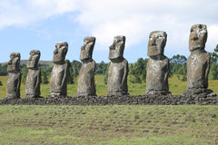 Easter Island Statues. Row of Easter Island Moai (statue royalty free stock photography