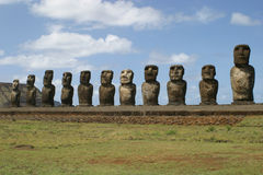 Easter Island Statues. Row of Easter Island Moai (statue royalty free stock photo