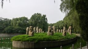 Easter island statues Royalty Free Stock Image