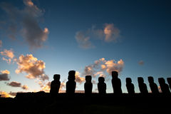 Easter Island statues in the dusk Stock Photos