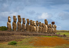 Easter Island statues in line. Under the blue sky Royalty Free Stock Images