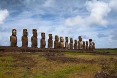 Easter Island statues in line Stock Photography