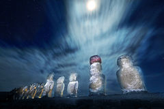 Easter Island statues at moonlight. Easter Island statues at night with moonlight and stars in the backgorund royalty free stock photo