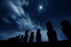 Easter Island statues at nigth Royalty Free Stock Photography