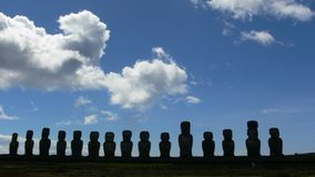Easter Island statues outline. Outlines of statues on Easter Island in Polynesia, Pacific ocean Stock Photo