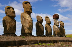 Easter Island Statues- Tongariki. Moai (stone statues) at Tongariki on Easter Island royalty free stock image
