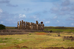 Easter Island Statues under blue sky Stock Images