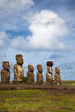 Easter Island Statues under blue sky Stock Photography
