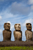 Easter Island Statues under blue sky Royalty Free Stock Photos
