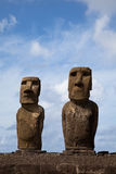 Easter Island Statues under blue sky Stock Photos