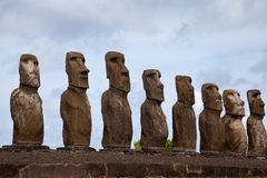 Easter Island Statues under blue sky Stock Photo