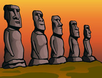 Easter Island. Stone idols. Stock Photo