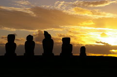 Easter Island Sunset. Sunset over the Moai (stone statues) at Ahu Tahai on Easter Island stock photos