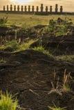 Easter island , tongariki and petroglyphs Royalty Free Stock Photos