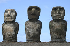 Easter Island Trio. Easter Island moai (statues) stone carvings royalty free stock image