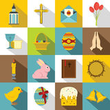 Easter items icons set, flat style Royalty Free Stock Images