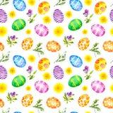 easter jajek kwiatów wiosna bezszwowy wzoru akwarela Fotografia Stock