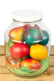 Easter jar eggs. Easter concept.Colorful easter eggs in a jar Royalty Free Stock Photos