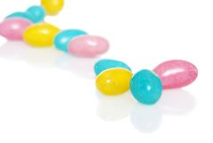 Easter Jelly Beans Focus On Blue One Very Shallow Royalty Free Stock Photos