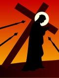 Easter - Jesus com a cruz Imagens de Stock