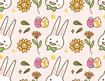 Easter kawaii background with rabbit, egg and flower vector illustration