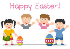 Easter Kids and Banner. A group of four cute kids with Easter eggs and a blank banner. Empty space for your message. Eps file available Stock Image