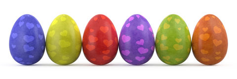 easter kolorowi jajka odizolowywali biel Fotografia Stock