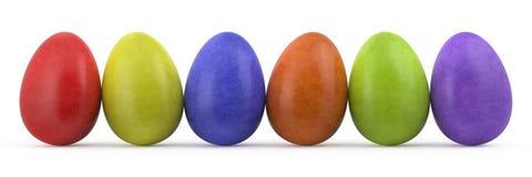easter kolorowi jajka odizolowywali biel Zdjęcia Stock
