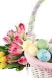 easter koszykowi tulipany Obraz Royalty Free