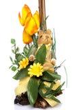 Easter królik z kwiatami Zdjęcie Royalty Free