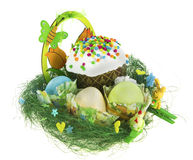 Easter kulich with painted eggs, funny chicken and bunny Stock Photos