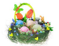 Easter kulich with painted eggs, funny chicken and bunny Royalty Free Stock Photo