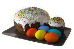 Easter kulich with painted eggs Stock Photography