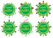 Easter label with banny, eggs and carrots. Set of stickers, pins, patches in cartoon comic style. Stock Photo