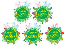 Easter label with banny, eggs and carrots. Set of stickers, pins, patches in cartoon comic style. Royalty Free Stock Images