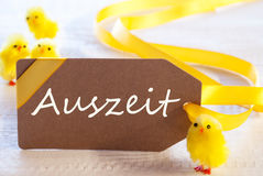 Easter Label, Chicks, Auszeit Means Downtime Stock Image