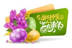 Easter Label With Spring Flowers vector illustration