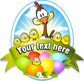 Easter label with colorful eggs, chicken and hen. Cartoon Stock Images